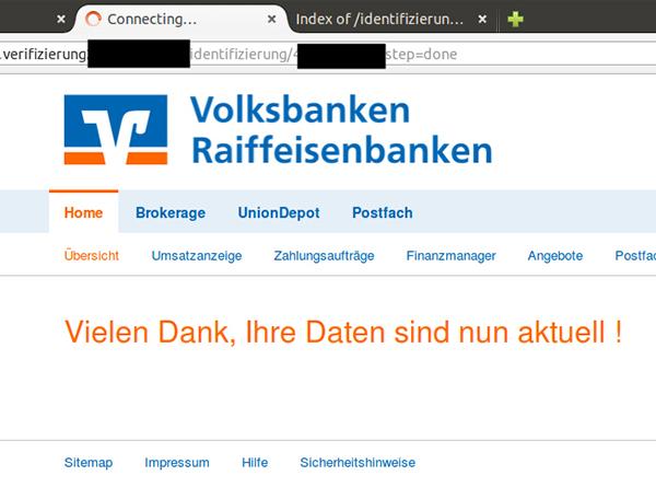 Beispiel einer Phishing-Seite mit der Aufforderung Personalausweis bzw. ec-Karte einzuscannen